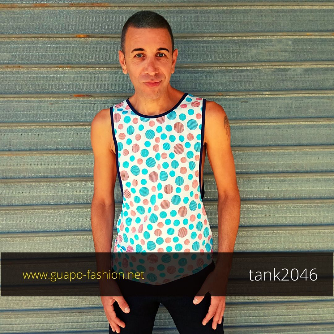 sleeveless t-shirt with dropped armhole גופיה צבעונית