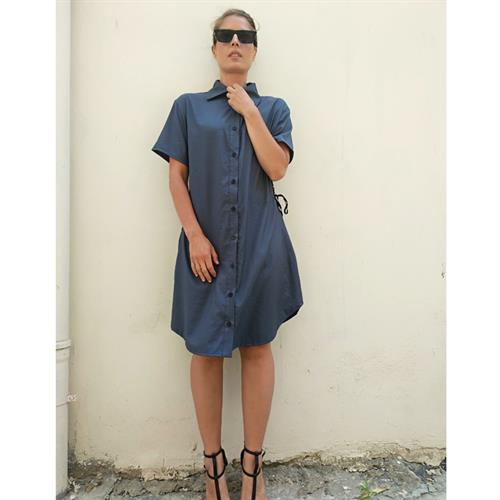 שמלת סול כחול כהה שרוול קצר
