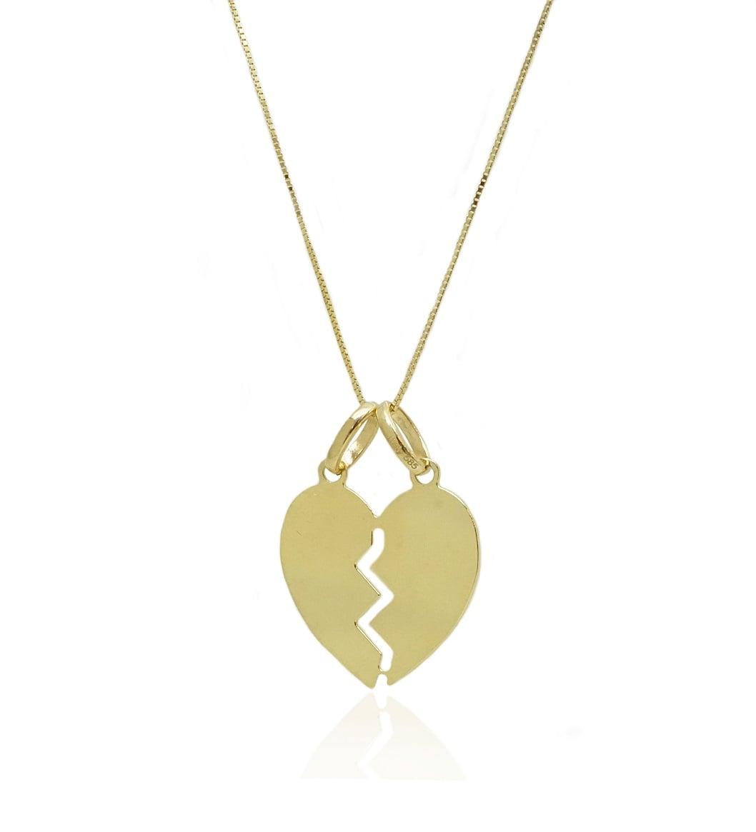 שרשרת לב זהב עם חריטה שניתן לחצות לחצי