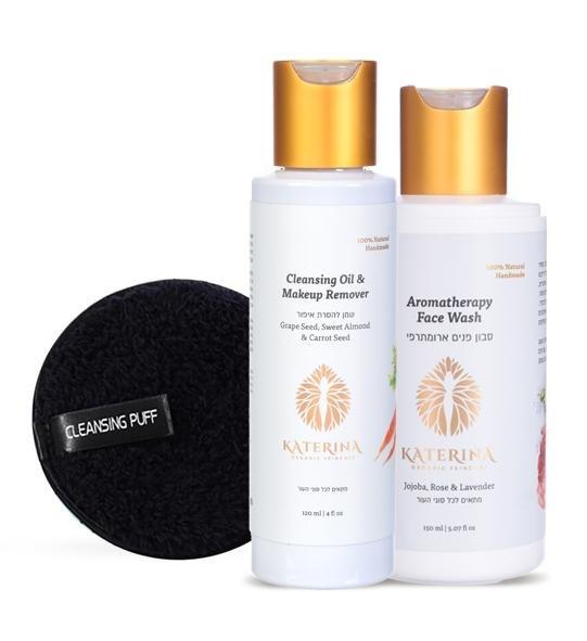 העניקי לעור שלך את הניקוי המושלם - בשיטת הניקוי הכפול . 2 מוצרים משלימים המהווים את שיטת הניקוי היעילה והטבעית ביותר! כרית מיקרופייבר במתנה ברכישה של שמן להסרת איפור+סבון פנים שני מוצרים- שמן לניקוי הפנים וסבון פנים שלב 1: מטפטפים מעט מהשמן מעסים על עור לח כולל העיניים- כדקה מסירים את השמן במים פושרים  ולתוספת התפנקות- במגבת חמימה/ כרית מיקרופייב