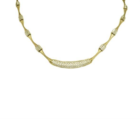קולייר(ענק)חוליות לצוואר משובץ זרקונים בשיבוץ פאווה