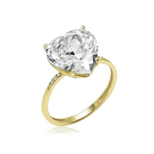 טבעת זהב יהלומים וזרקון לב גדול ומרשים