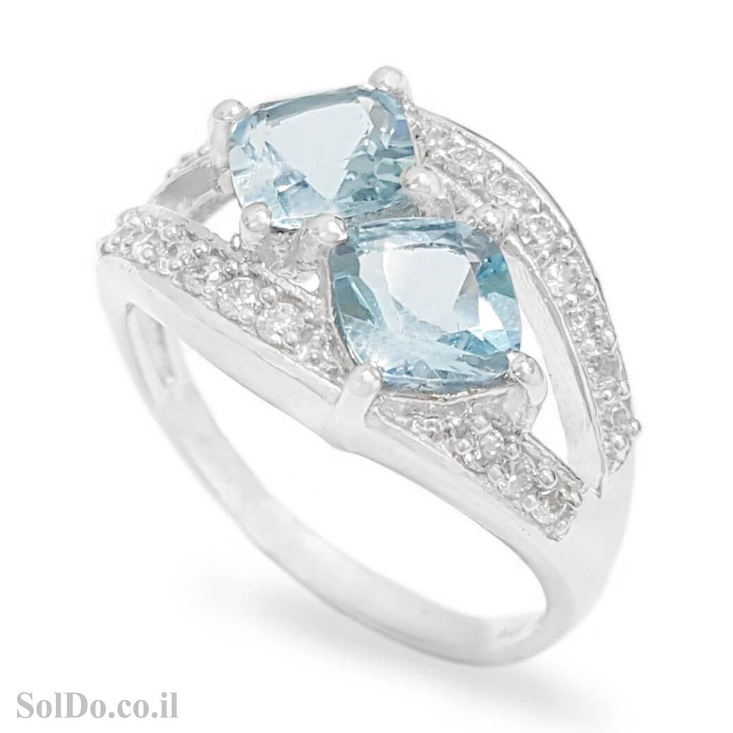 טבעת מכסף משובצת אבני טופז כחולה וזרקונים RG1672 | תכשיטי כסף 925 | טבעות כסף