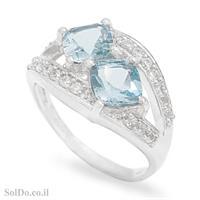 טבעת מכסף משובצת אבני טופז כחולה וזרקונים RG1672   תכשיטי כסף 925   טבעות כסף