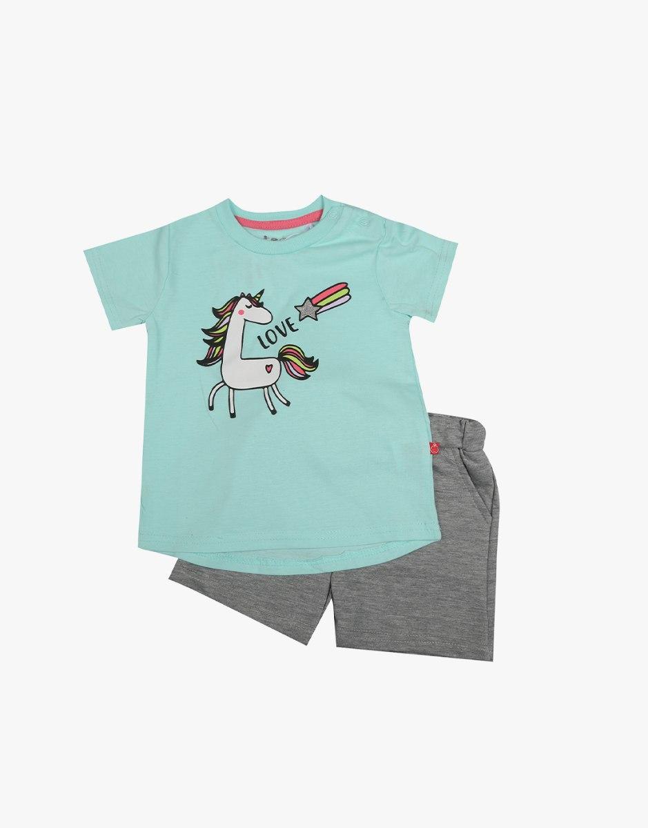 חליפה תינוקות 2 חלקים חד קרן LOVE