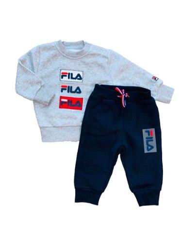 חליפת פוטר בנים אפור/כחול עם לוגו סיליקון FILA - מידות NB עד 6 חודשים