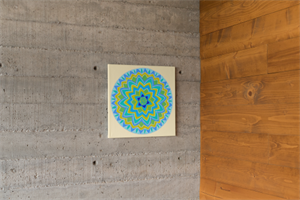 מנדלת פרח החיים - מנדלה מקורית בעבודת יד מודפסת על בד קנבס