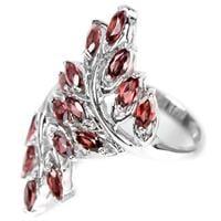 טבעת כסף בצורת עלים משובצת אבני גרנט RG5621   תכשיטי כסף 925   טבעות כסף