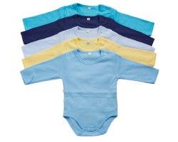 מארז 5 בגדי גוף פלנל כחול-נייבי-תכלת בייבי-צהוב-תכלת