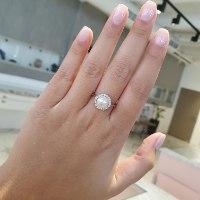 טבעת פנינה 9 ממ ויהלומים קלאסית