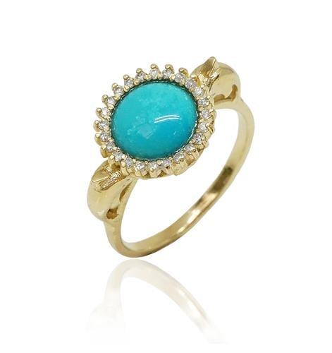 טבעת זהב משובצת אבן טורקיז ויהלומים 0.22  קראט