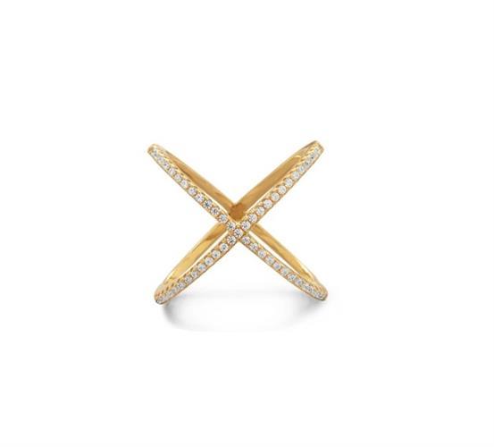 טבעת זהב איקס עם זרקונים מהממת