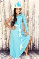תחפושת רקדנית אינדיאנית א-סמטרית בצבע טורקיז