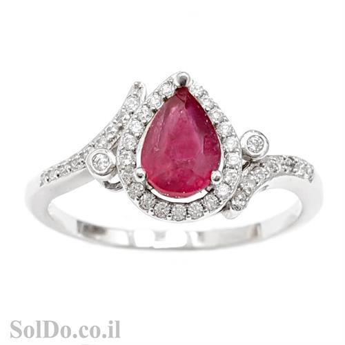 טבעת מכסף משובצת אבן רובי אדומה ואבני זרקון קטנות  RG6003 | תכשיטי כסף 925 | טבעות כסף