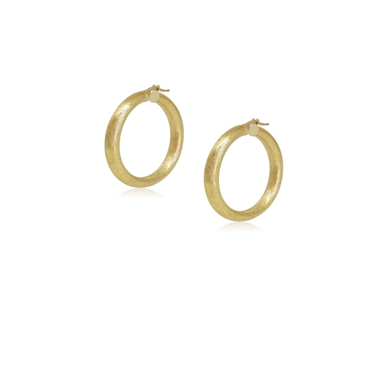 """עגילי חישוק זהב מט מחוספס לאישה 3.6 ס""""מ"""