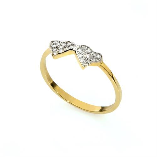 טבעת לבבות יהלומים, מתנה לבת מצווה, טבעת זהב 14K