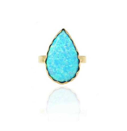 טבעת זהב אופל טיפה מרשימה וגדולה