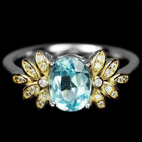 טבעת כסף משובצת טופז כחול וזרקונים RG5613 | תכשיטי כסף 925 | טבעות כסף