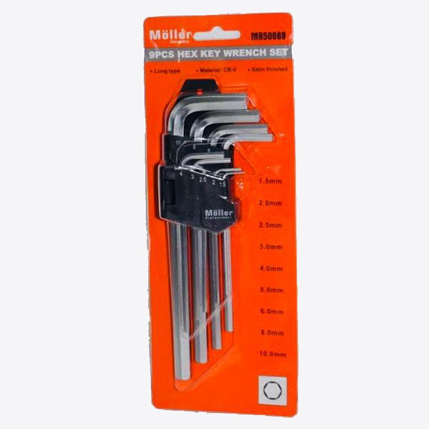 סט מפתחות אלן משושה ארוך 9 יחידות