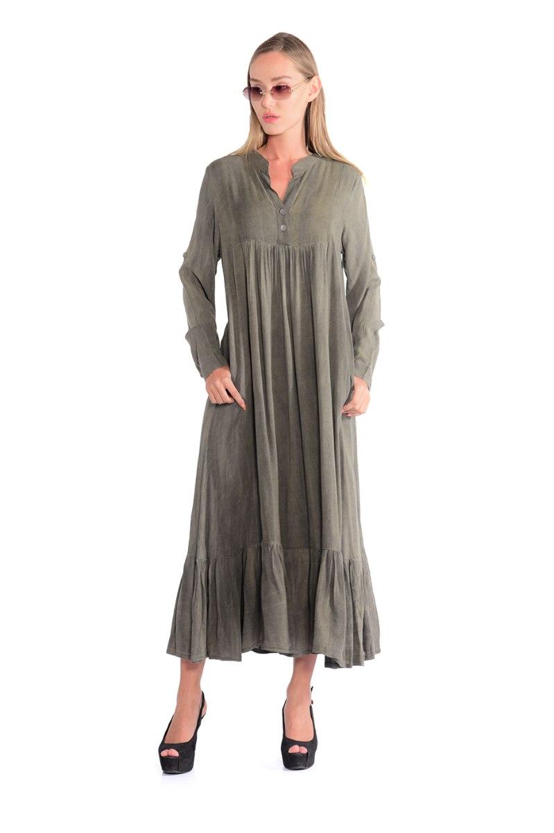 שמלה מלינה זית