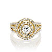 טבעת אירוסין זהב צהוב 14 קראט משובצת יהלומים DOUBLE HALOW THREE ROWS
