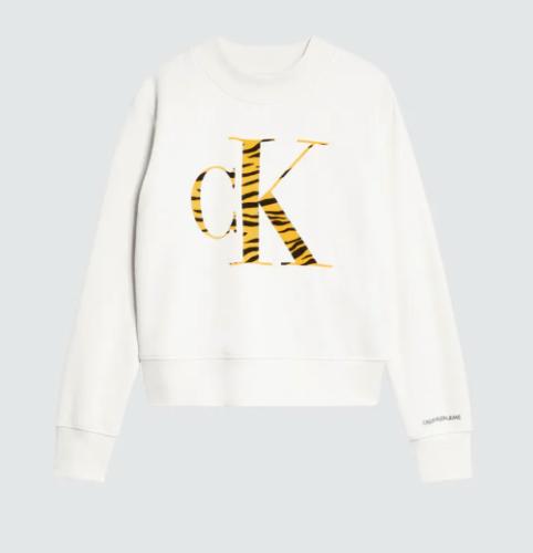 פוטר לבן עם לוגו מנומר, בנות - Calvin Klein - מידות 4 עד 16 שנים