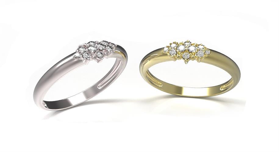 טבעת זהב מעוצבת משובצת יהלומים 0.16 קראט בזהב 14 קרט