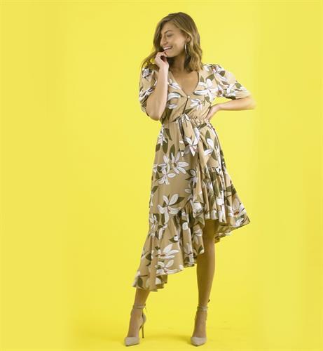 שמלת פרחים אסימטרית - ברונזה לבן