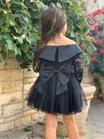 שמלת שושבינה צווארון שילוב תחרה
