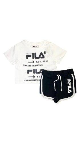 חליפת שורט שחור לבן (FILA (2-8