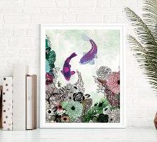ציור צבעוני של דגי קוי - פנג שואי