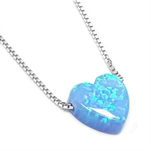 תליון כסף בצורת לב אבן אופאל כולל שרשרת T5938 | שרשרת כסף
