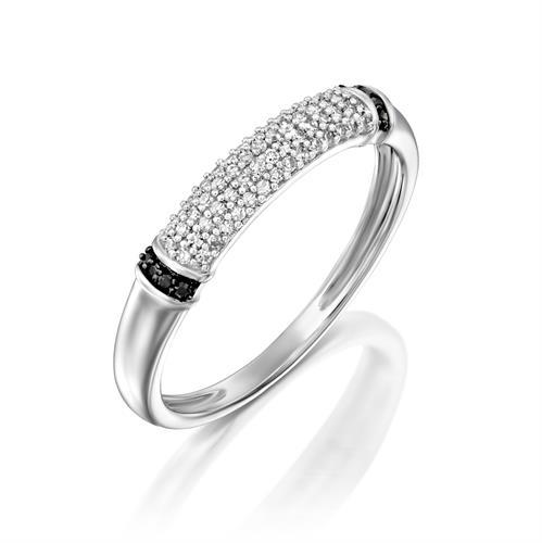 טבעת מיני מקומר משובצת יהלומים לבנים ויהלומים שחורים בצדדים בזהב לבן או צהוב 14 קראט