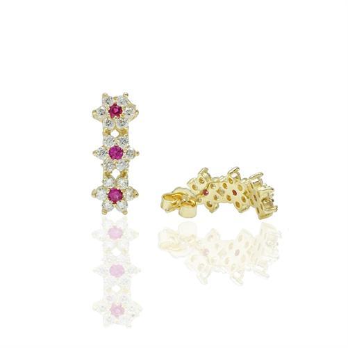 עגילי זהב נתלים פרחים עם אבן ורודה(אבן לבחירה) 14 קראט