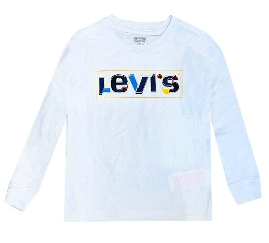 טי שירט LEVIS לבנה לוגו צבעוני - מידות 1-15 שנים