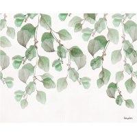 ציור של עלים ירוקים צבעי מים