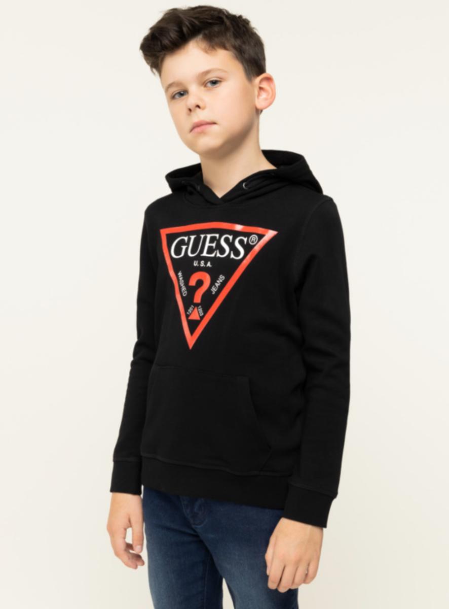 קפוצ׳ון שחור לוגו GUESS אדום בנים - 7-18 שנים