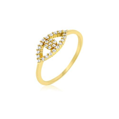 טבעת זהב עין הרע עם זרקונים