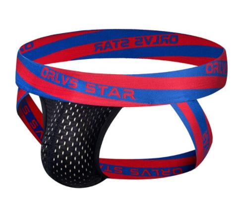 תחתון כחול אדום שחור רשת בגודל L