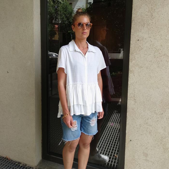 חולצת סאני לבן טקסטורה