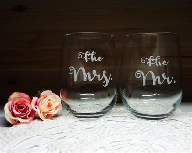 2 כוסות יין ללא רגל, גברת ואדון| Mr. & Mrs.