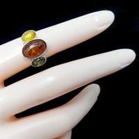 טבעת מכסף בשיבוץ ענבר 3 צבעים RG5926 | תכשיטי כסף 925 | טבעות כסף