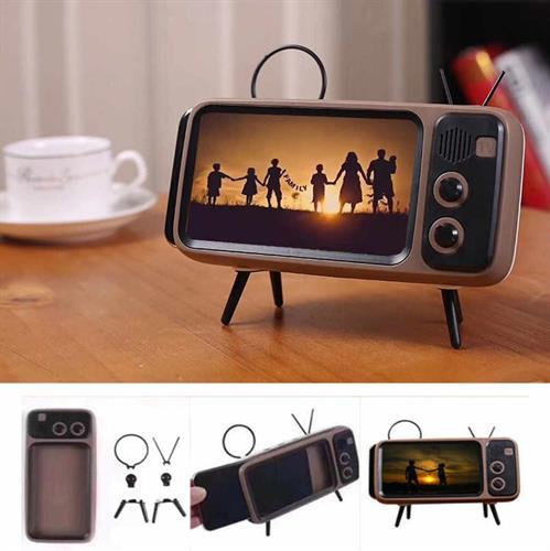 מחזיק סמארטפון מעוצב בסגנון טלוויזיה עם רמקול מובנה בחיבור בלוטוס