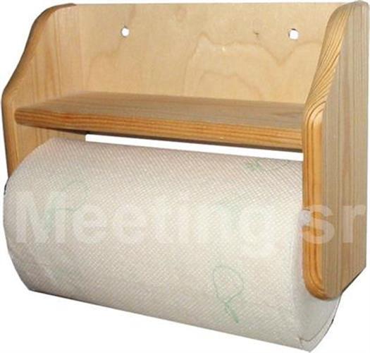 מתקן תלייה לנייר עם מדף מעץ