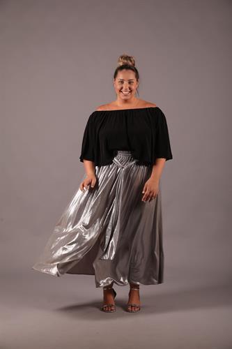 חצאית לורי ערב כסף בהיר