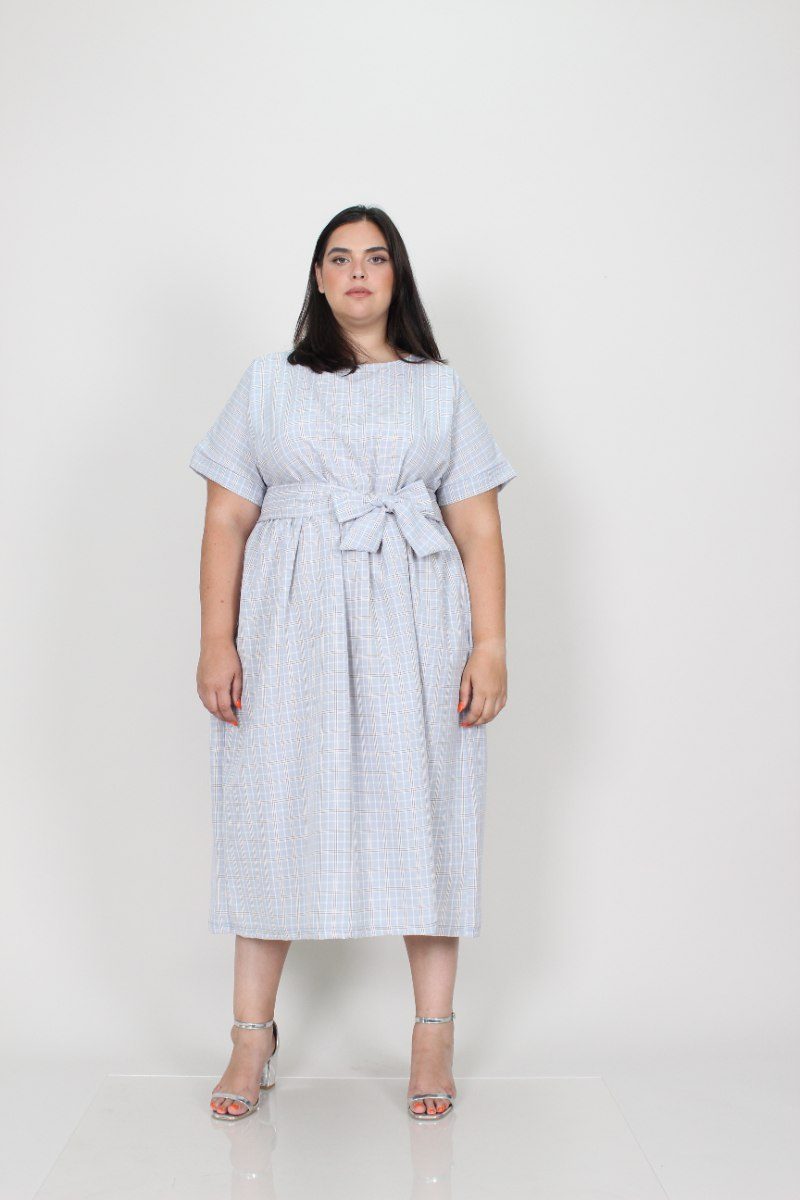 שמלת בריטני תכלת משובץ