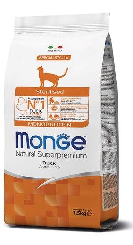 """מונג' מונו פרוטאין סטרילייז ברווז לחתולים 1.5 ק""""ג - MONGE MONOPROTEIN STERILISED DUCK 1.5 KG"""