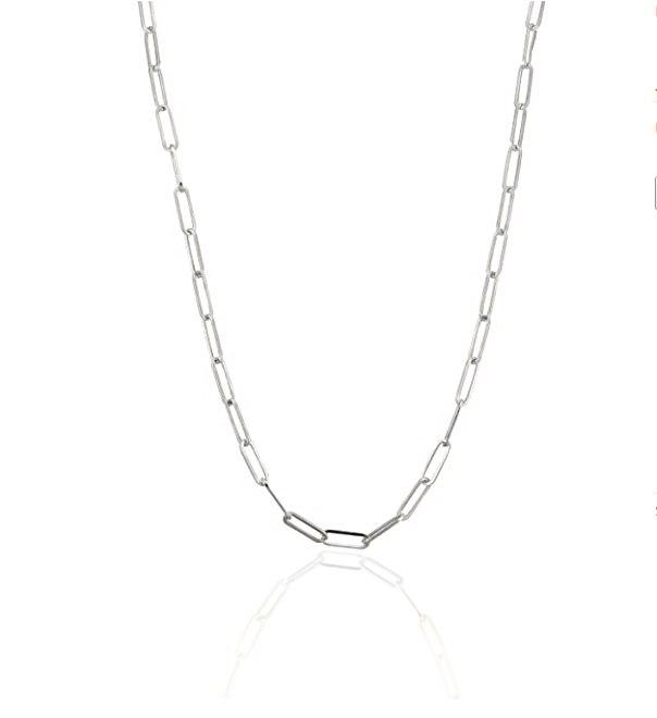 שרשרת זהב לבן דגם אטב 50 סמ