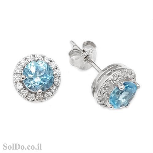עגילי כסף צמודים משובצים אבני טופז כחולות וזרקונים A8618 | תכשיטי כסף 925 | עגילי כסף