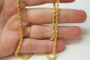 """שרשרת זהב חבל 2.6 מ""""מ  שרשרת זהב חבל לאישה  14 קרט"""
